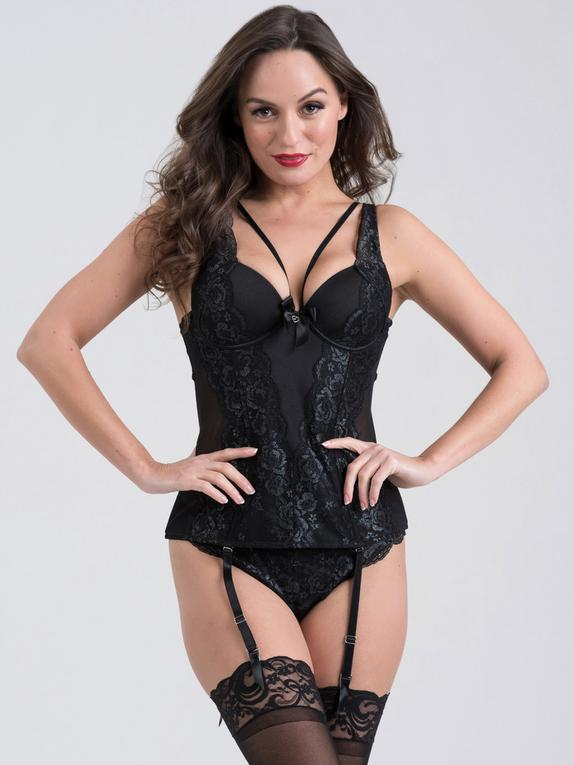 Lovehoney Dark Enchantment Black Lace Basque Set, Black, hi-res