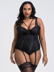 Lovehoney Dark Enchantment Black Lace Basque Set, Black, hi-res
