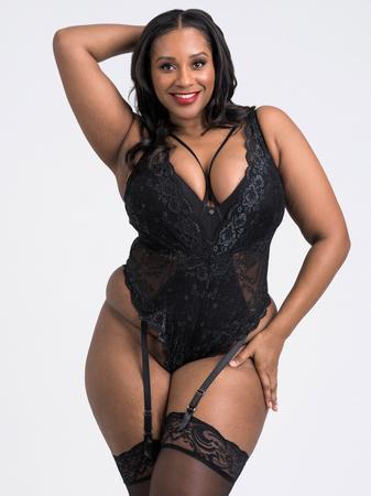 Lovehoney Plus Size Dark Enchantment Black Lace Teddy
