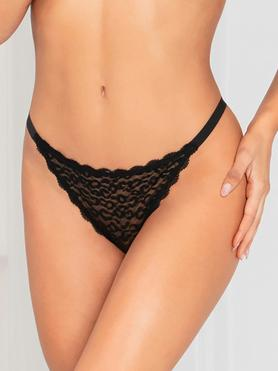 Seven 'til Midnight Black Leopard Lace Trim Thong