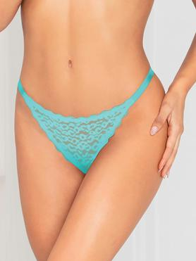 Seven 'til Midnight Blue Leopard Lace Trim Thong