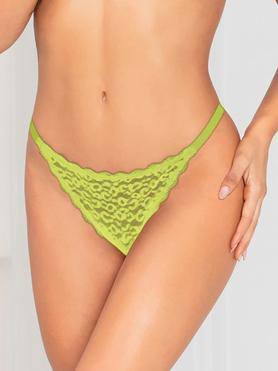 Seven 'til Midnight Green Leopard Lace Trim Thong