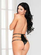 Seven 'til Midnight Black Strappy Satin Thong, Black, hi-res