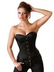 Cottelli Black Brocade Lace-Up Corset, Black, hi-res