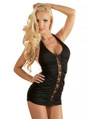Cottelli Black Ruched Lace Detail Mini Dress, Black, hi-res