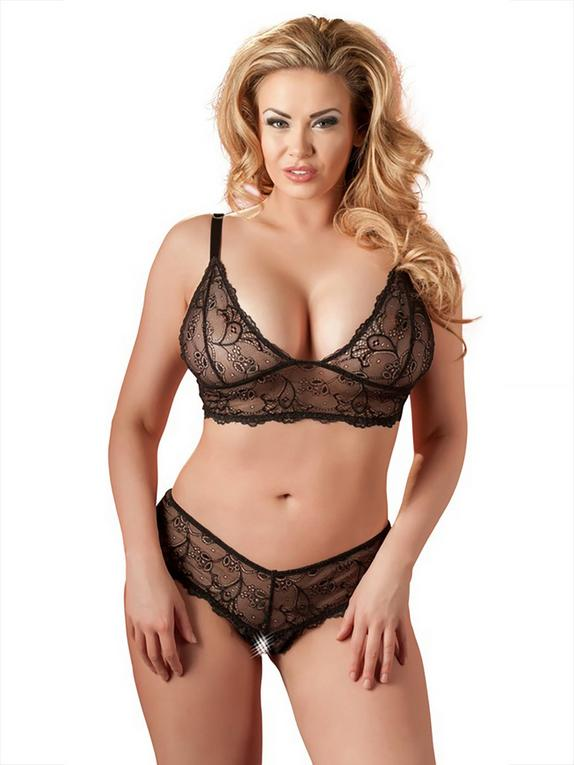 Cottelli Plus Size Black Lace Sheer Crotchless Bra Set, Black, hi-res
