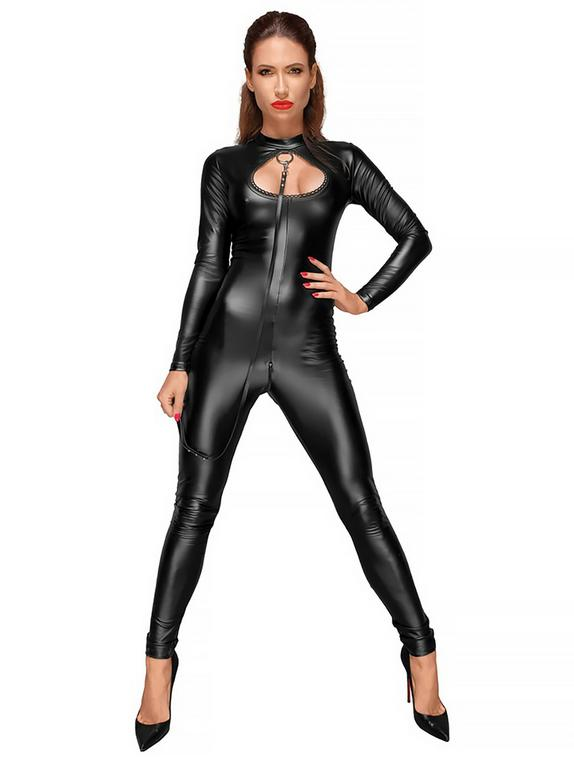 Noir Black Wet Look Cut-Out Catsuit with Lead , Black, hi-res