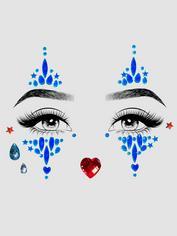 Leg Avenue Harlequin Self-Adhesive Face Jewels , Blue, hi-res