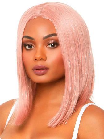 Leg Avenue Pink Tinsel Long Bob Wig
