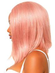 Leg Avenue Pink Tinsel Long Bob Wig, Pink, hi-res