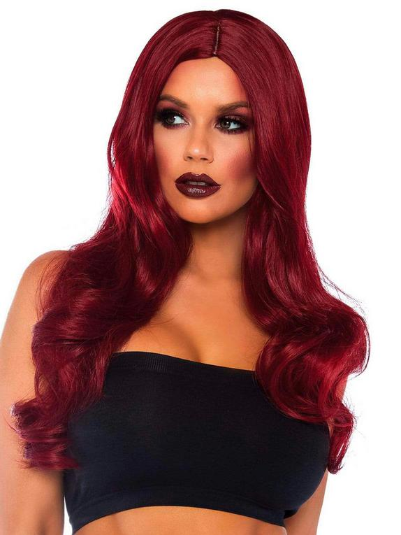 Leg Avenue Long Wavy Red Wig, Red, hi-res