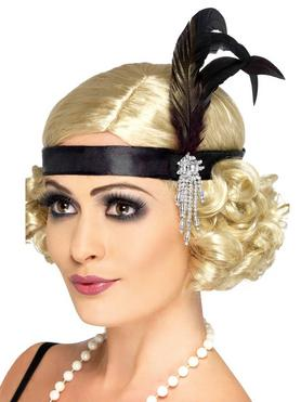 Fever Black Satin Flapper Headband