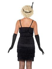 Fever Black Fringed Flapper Costume, Black, hi-res