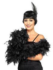 Fever Black Feather Boa, Black, hi-res