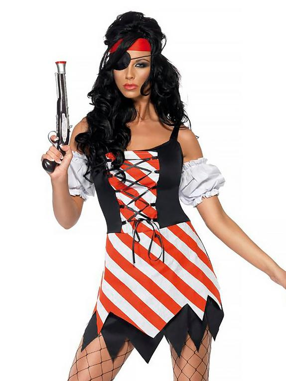 Fever Red and White Pirate Costume, White, hi-res