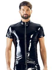 Black Level PVC Zip Front Shirt, Black, hi-res