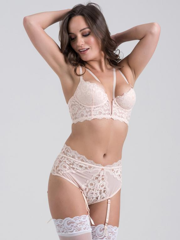 Lovehoney Parisienne Black Lace Plunge Longline Bra Set, White, hi-res