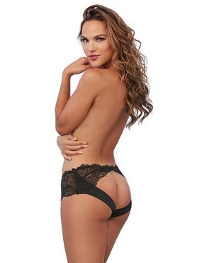 Dreamgirl Black Lace Open-Back Knickers
