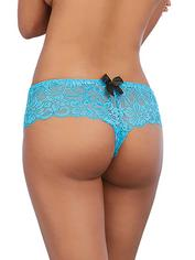 Dreamgirl Red Lace Bow Detail Crotchless Panties, Blue, hi-res