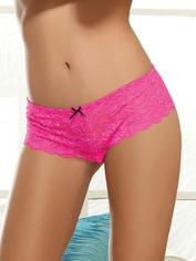 Dreamgirl Red Lace Bow Detail Crotchless Knickers, Pink, hi-res