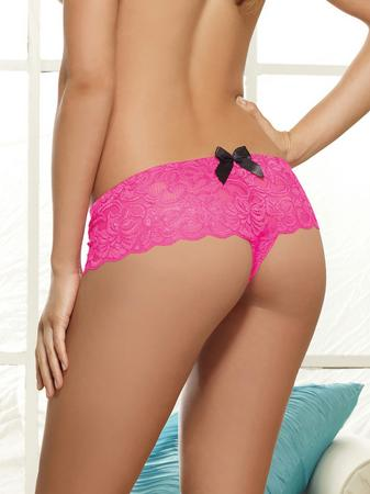Dreamgirl Blush Pink Lace Bow Detail Crotchless Knickers