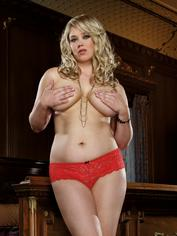 Dreamgirl Plus Size Red Lace Bow Detail Crotchless Knickers, Red, hi-res