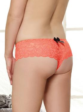 Dreamgirl Plus Size Coral Lace Bow Detail Crotchless Knickers