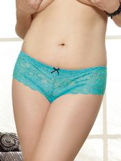 Dreamgirl Plus Size Red Lace Bow Detail Crotchless Knickers, Blue, hi-res