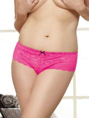 Dreamgirl Plus Size Red Lace Bow Detail Crotchless Panties, Pink, hi-res