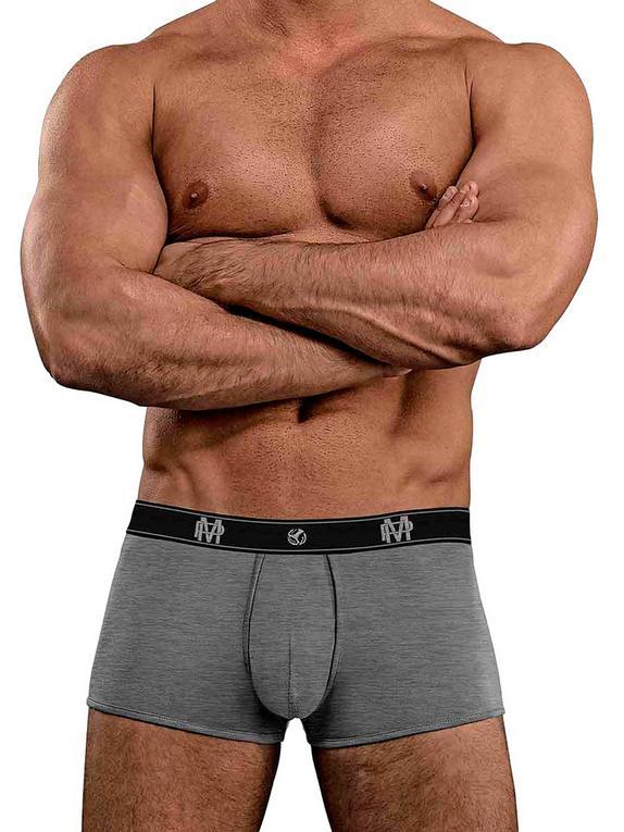Male Power Black Bamboo Boxer Shorts, Grey, hi-res