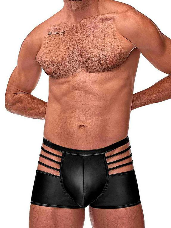 Male Power Wet Look Cage Boxer Shorts, Black, hi-res