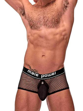 Male Power Black Cock Pit Mesh Boxer Shorts