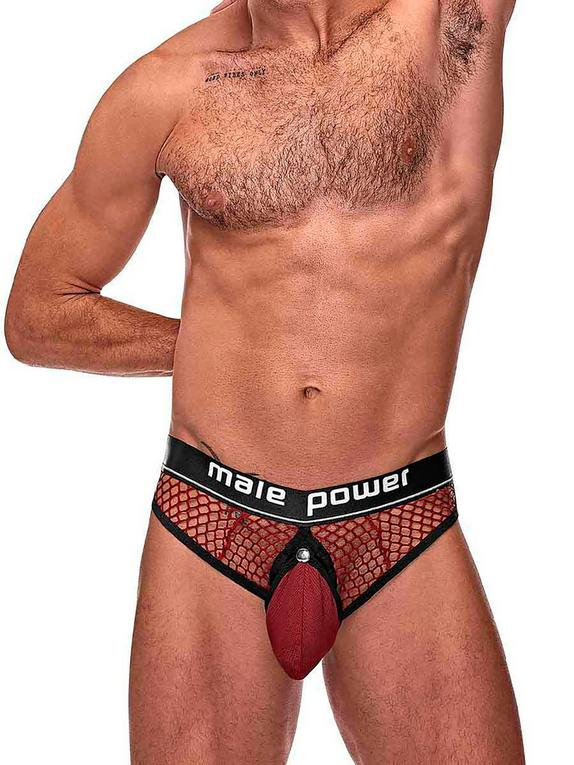 Male Power Red Cock Pit Mesh Thong, Red, hi-res