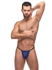 Male Power Blue Diamond Mesh Posing Pouch, Blue, hi-res