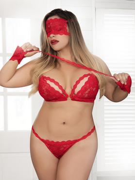 Mapale Plus Size Red Lace Bra Set With Cuffs & Eye Mask