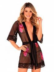 Mapale Black Sheer Floral Lace Robe, Black, hi-res