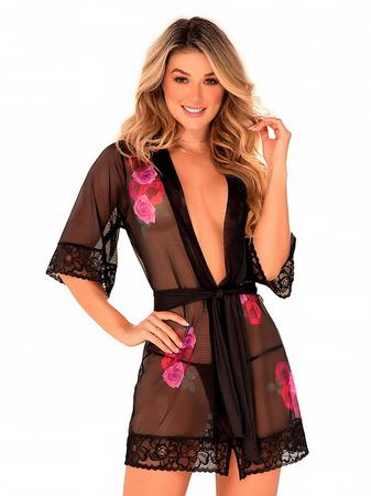 Mapale Black Sheer Floral Lace Robe