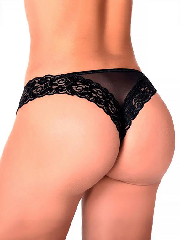 Mapale Black Lace and Mesh Panties , Black, hi-res