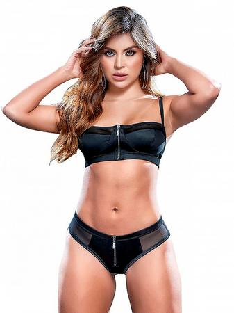 Mapale Black Mesh Zipper Front Balcony Bra Set