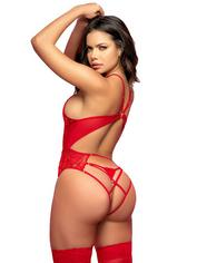 Mapale Red Lace Deep Plunge Body, Red, hi-res