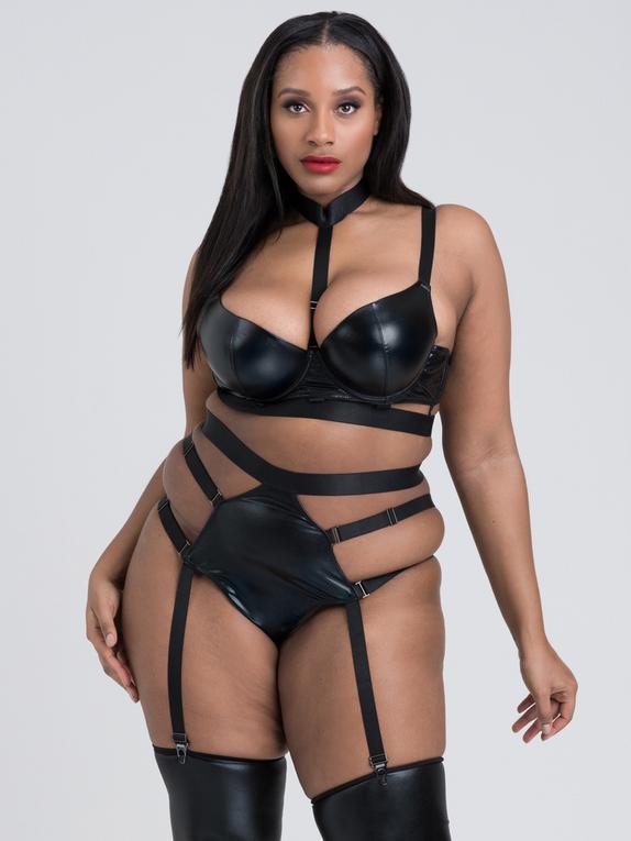 Lovehoney Fierce Caged Desire Wet Look Bra Set, Black, hi-res