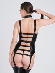 Lovehoney Fierce Caged Desire Wet Look Basque Set, Black, hi-res
