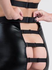 Lovehoney Fierce Caged Desire Wet Look Top and Skirt Set, Black, hi-res
