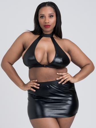 Lovehoney Plus Size Fierce Caged Desire Wet Look Top and Skirt Set
