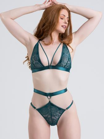 Lovehoney Moonflower Emerald Green Lace Strappy Bra Set