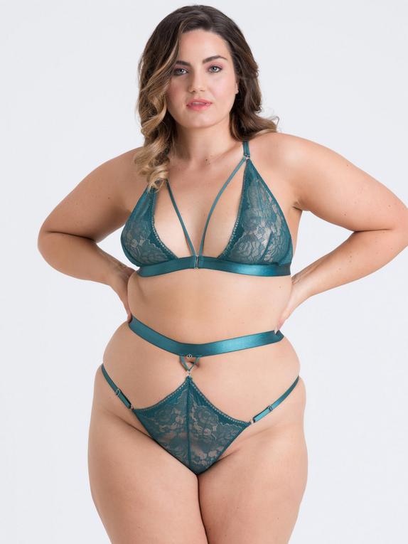 Lovehoney Plus Size Moonflower Purple Lace Strappy Bra Set, Green, hi-res