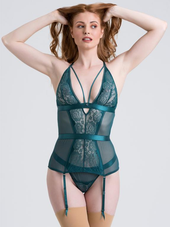 Lovehoney Moonflower Purple Lace Strappy Basque Set, Green, hi-res