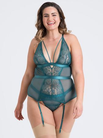Lovehoney Plus Size Moonflower Emerald Green Lace Strappy Basque Set