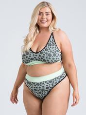 Lovehoney Mindful Mint Green Leopard Print Seamless Bra Set, Green, hi-res