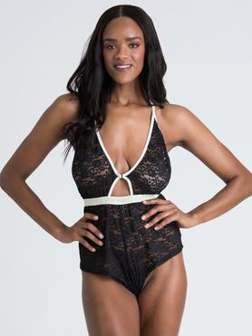 Lovehoney Mindful Black Lace Plunging Teddy
